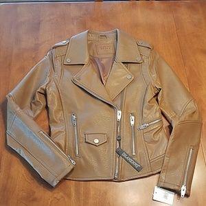 Blank NYC Brown moto jacket vegan small